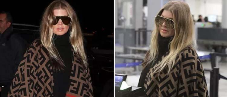Fergie é vista com poncho grifado de r$ 3,5 mil em aeroporto
